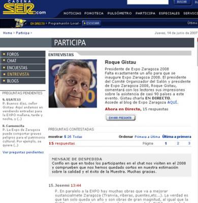 El presidente de la Expo Zaragoza 2008, Sr. Gistau,  ¿responde?