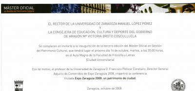 Universidad de Zaragoza. Master Oficial en Gestión de Patrimonio Cultural: No comment
