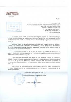 Respuesta del Director General de Patrimonio en relación a la ermita-paridera de Santa Quiteria de Encinacorba, Bien Catalogado del patrimonio aragonés