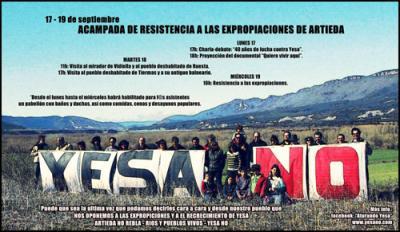 ¡Ríos y pueblos vivos! ¡Yesa no!  Resistencia en Artieda, días 17 a 19. ¡Acude!