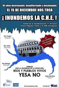 Apudepa se adhiere a la manifestación en Zaragoza: 15D ¡INUNDEMOS LA C.H.E.!