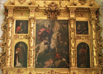 Noticia del descubrimiento de cuatro lienzos barroco hallados en el proceso de restauración del retablo del apóstol Santiago en la Real Basílica de S. Lorenzo de Huesca, por Rosa Abadía Abadías y Elena Aquilué Pérez.